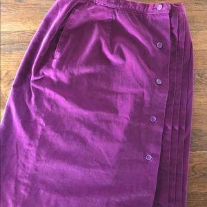 Vintage Purple Velvet Skirt w/ Pleats & Buttons